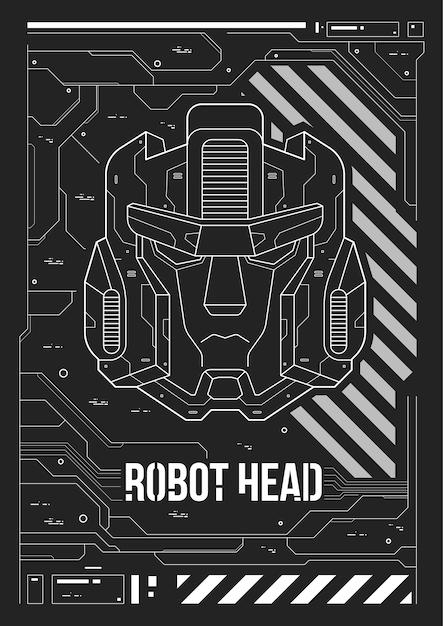 Futuristische poster met een robotkop. Premium Vector