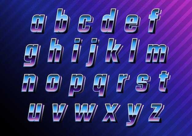 Futuristische retro technologie kleine letters instellen Premium Vector