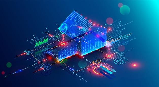 Futuristische slimme huistechnologie van interface met 3d plannenbouw en internet van dingen Premium Vector