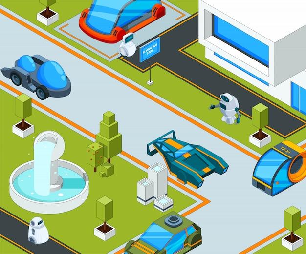 Futuristische stad met vervoer. stadslandschap met verschillende auto's Premium Vector
