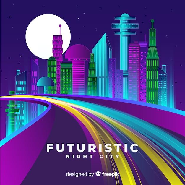 Futuristische stad weg achtergrond Gratis Vector