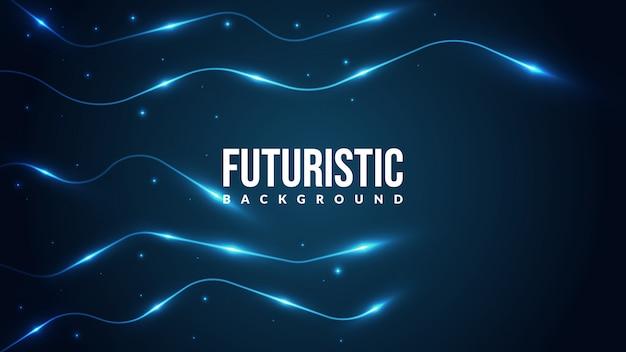 Futuristische technologie achtergrond met glanzende lijnen. Premium Vector