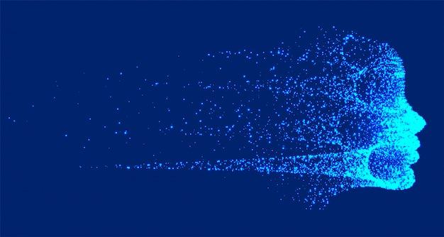 Futuristische technologie die het gezicht van kunstmatige intelligentie vernietigt Gratis Vector