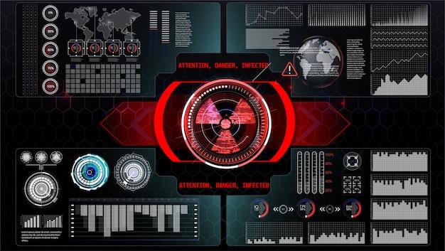 Futuristische technologie hud-scherm. tactical view sci-fi vr dislpay. hud ui. futuristisch vr head-up display. vitrual reality technology screen. Premium Vector
