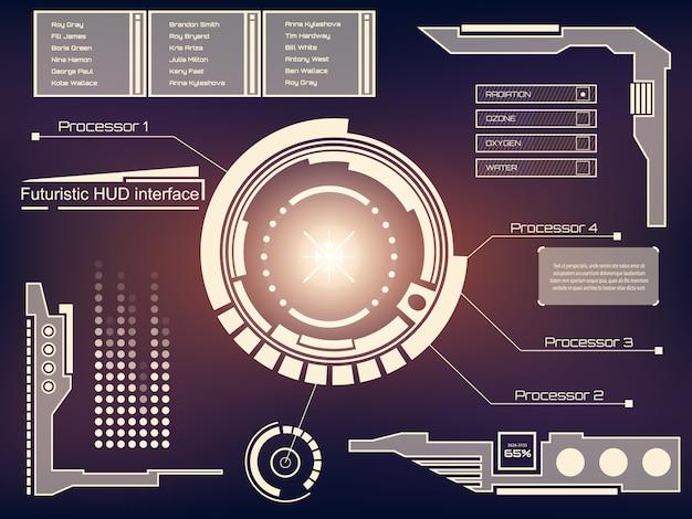 Futuristische technologie-interface hud ui-achtergrond. Premium Vector