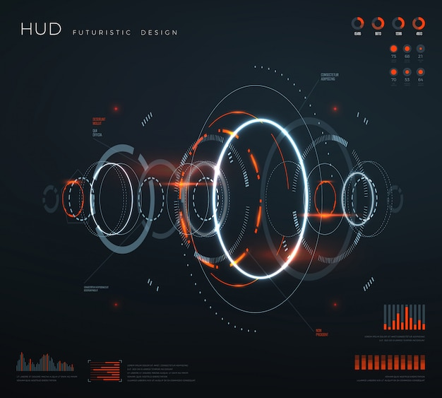Futuristische virtuele hud-interface. Premium Vector