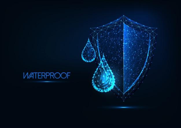 Futuristische waterdichting. gloeiende laag poly waterdruppels en schild op donkerblauwe achtergrond. Premium Vector