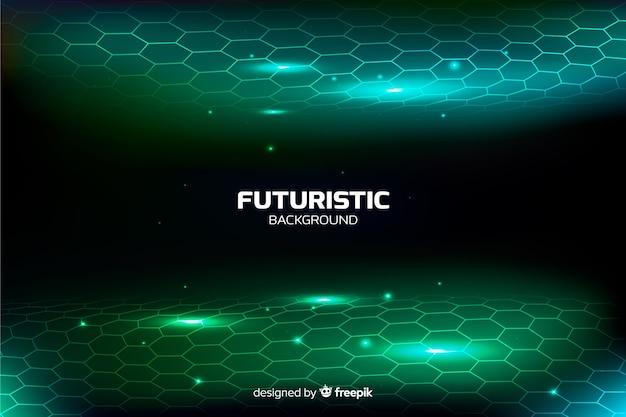 Futuristische zeshoekige netto achtergrond Gratis Vector
