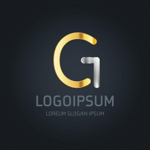 G logo goud en zilver Gratis Vector