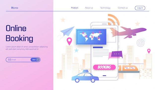 Ga op reis door online te boeken op smartphoneconcept, zomervakantie Premium Vector