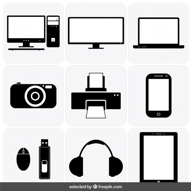 Gadget iconen collectie Gratis Vector