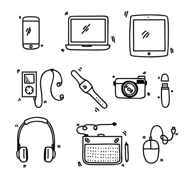 Gadget set doodle Premium Vector