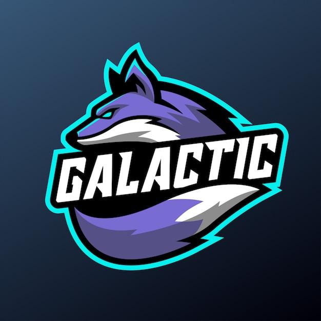 Galactische vos mascotte illustratie voor sport en esports logo geïsoleerd Premium Vector