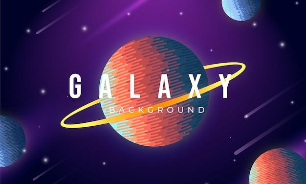 Galaxy achtergrond met kleurrijke planeten concept Premium Vector