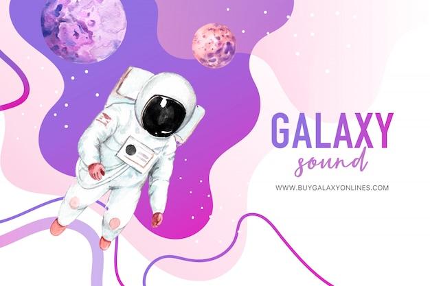 Galaxy astronaut, planeten aquarel illustratie. Gratis Vector