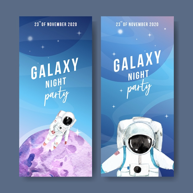 Galaxy banner met astronaut, planeet aquarel illustratie. Gratis Vector