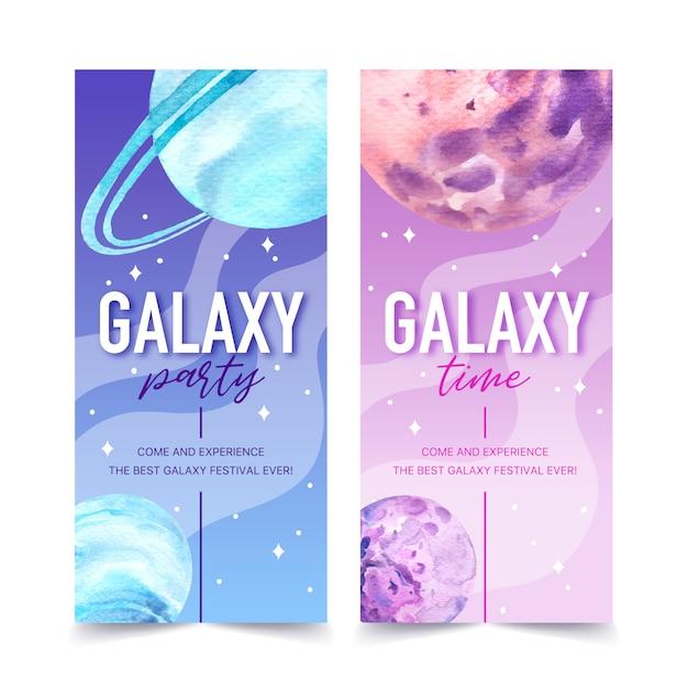 Galaxy-banner met de illustratie van de planetenwaterverf. Gratis Vector