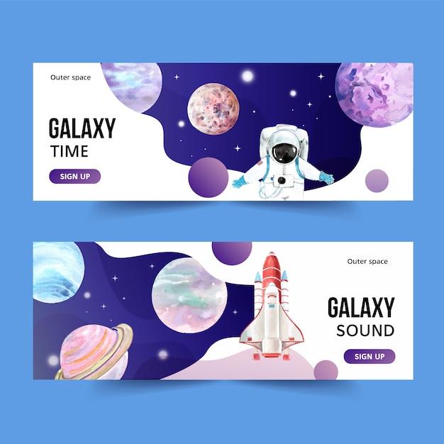 Galaxy banner ontwerp met planeet, raket, astronaut aquarel illustratie. Gratis Vector