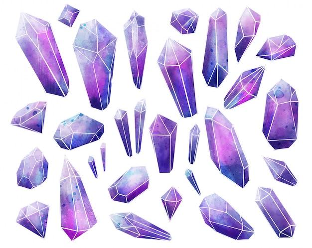 Galaxy edelstenen collectie, natte aquarel kristallen, met de hand getekend Premium Vector