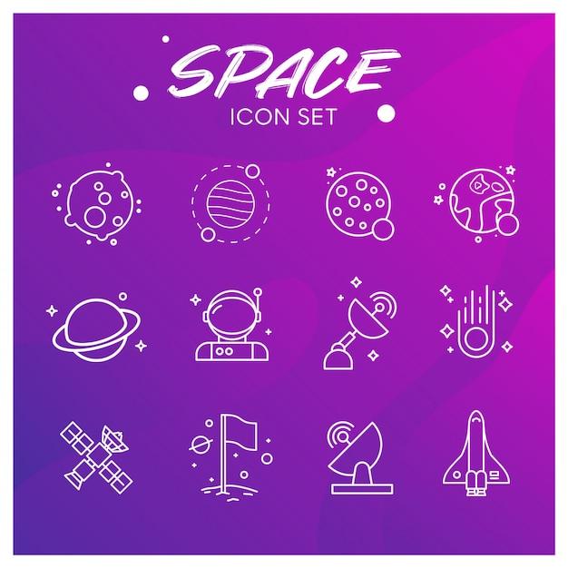 Galaxy en space icons set Premium Vector