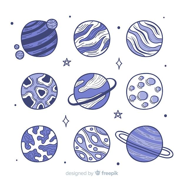 Galaxy planet collectieontwerp Gratis Vector