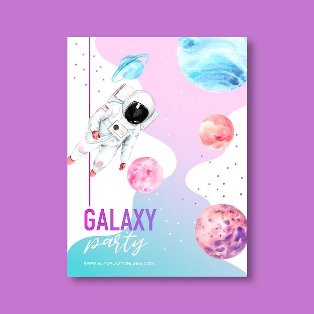 Galaxy posterontwerp met astronaut en planeet aquarel illustratie. Gratis Vector