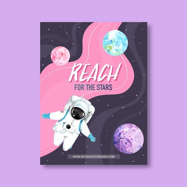 Galaxy posterontwerp met astronaut, planeten, aarde aquarel illustratie. Gratis Vector