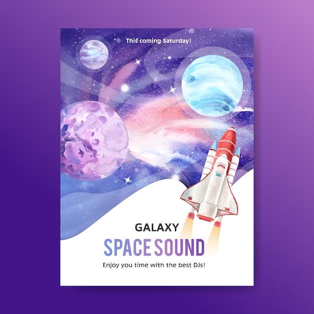 Galaxy posterontwerp met kosmos en planeet aquarel illustratie. Gratis Vector