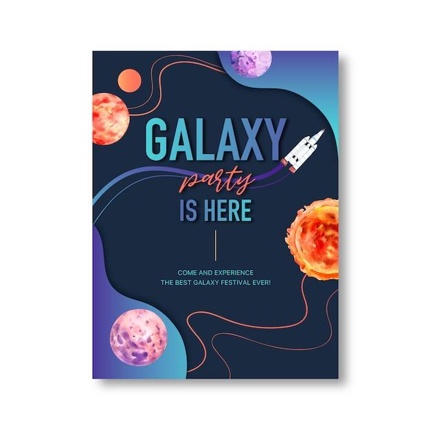 Galaxy posterontwerp met planeten, zon, raket aquarel illustratie. Gratis Vector