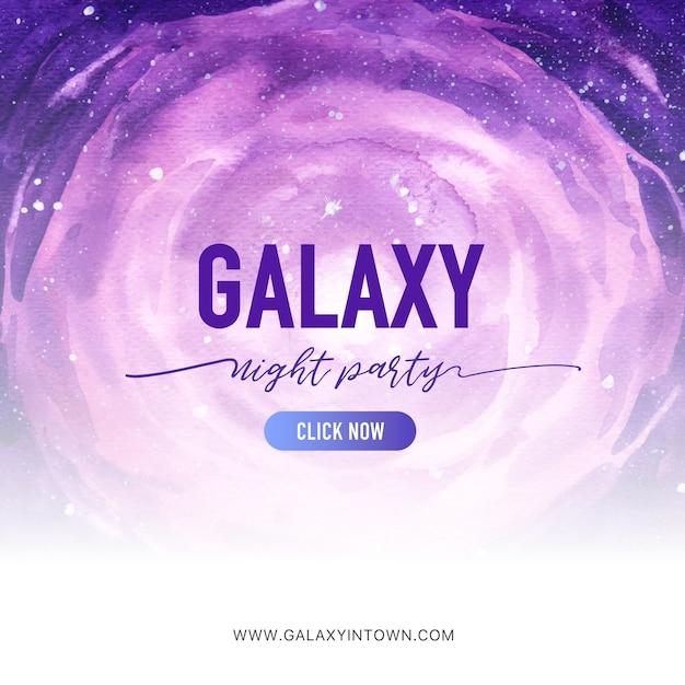 Galaxy sociale media post met paarse kosmos aquarel illustratie. Gratis Vector