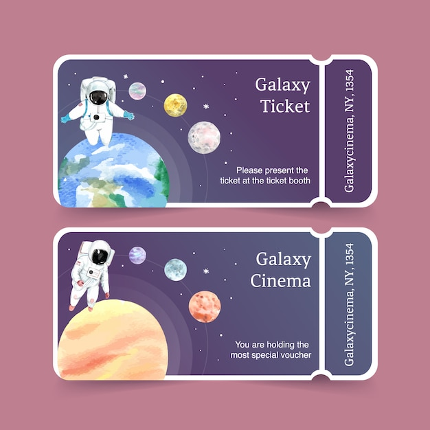 Galaxy ticket sjabloon met astronaut, planeten, aarde aquarel illustratie. Gratis Vector