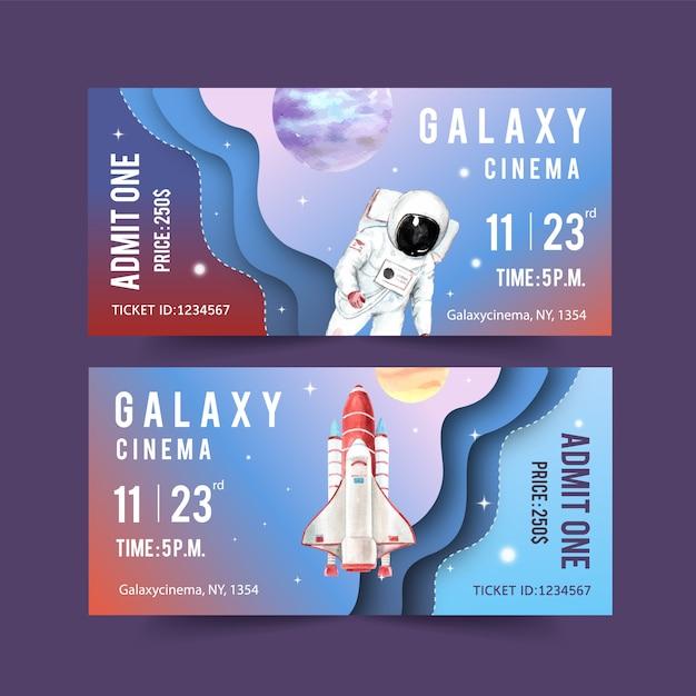Galaxy ticket sjabloon met raket, astronaut, planeten aquarel illustratie. Gratis Vector
