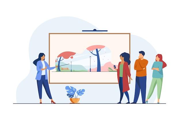 Galerijbezoekers kijken naar kunstwerken. museumgids vertelt over foto platte vectorillustratie. kunstgalerie, cultuur, tentoonstelling Gratis Vector