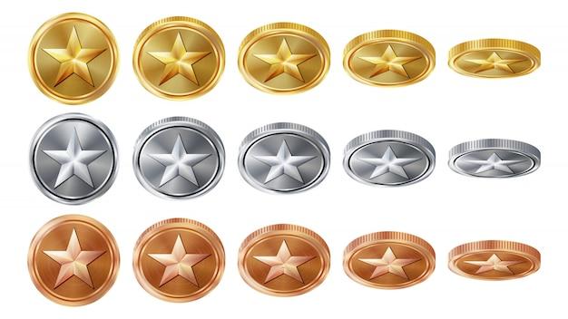 Game 3d gouden, zilveren, bronzen munten Premium Vector
