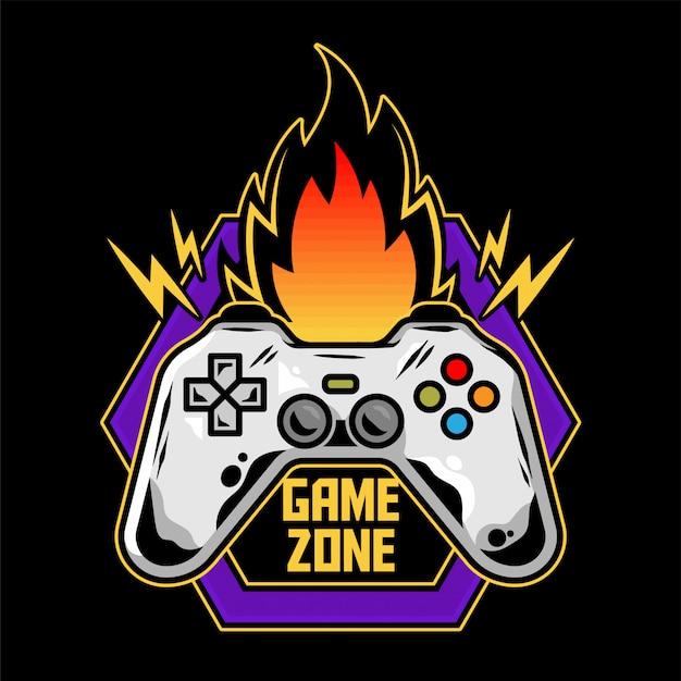 Game design icon logo van gamepad voor het spelen van arcade-videogame voor gamer moderne illustratie met controller voor speler van geekcultuur game zone. Premium Vector