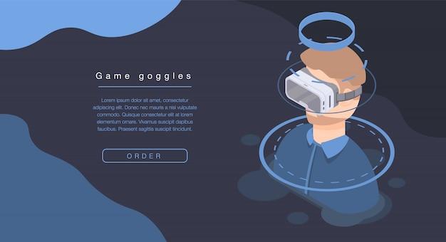 Game goggles concept banner, isometrische stijl Premium Vector