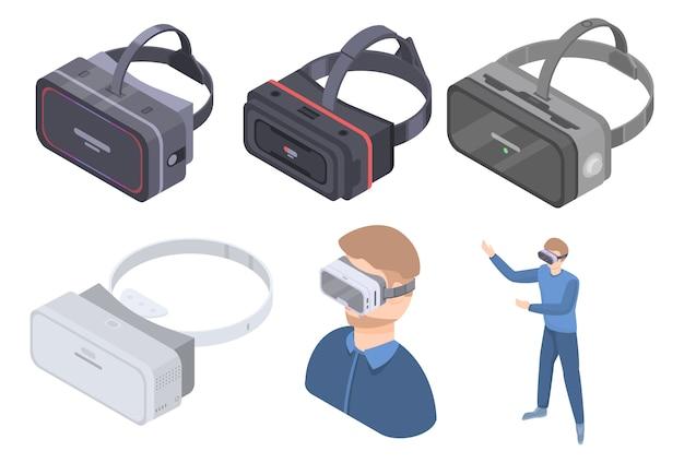 Game goggles pictogrammen instellen, isometrische stijl Premium Vector