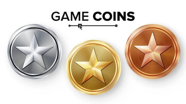 Game gouden, zilveren, bronzen munten Premium Vector