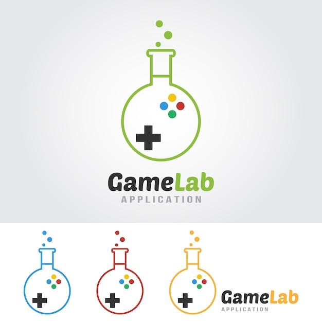 Game lab-logo sjabloon. lab-lamp met spelpictogram. Premium Vector