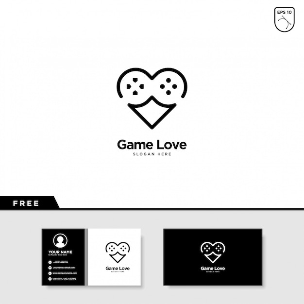 Game love logo-ontwerp Premium Vector