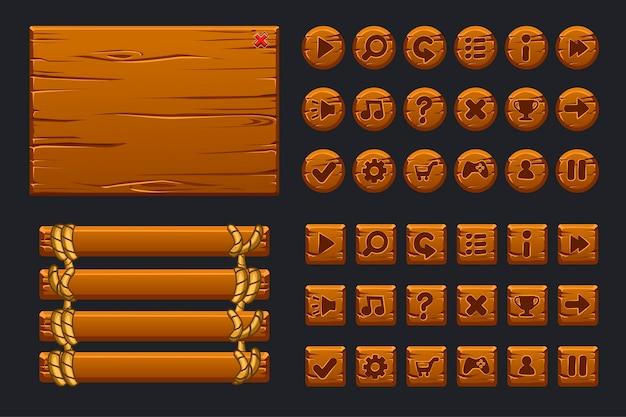 Game ui grote kit. sjabloon houten menu van grafische gebruikersinterface Premium Vector