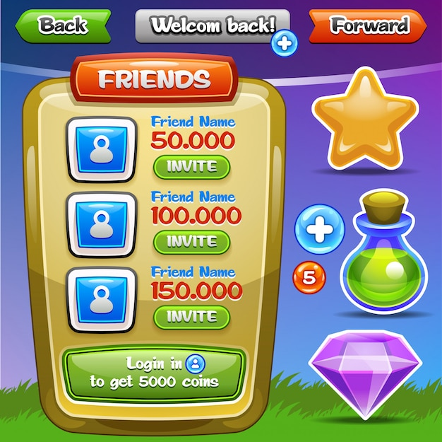 Game ui. interfaceknoppen voor games of apps. gemakkelijk te bewerken. illustratie. Premium Vector