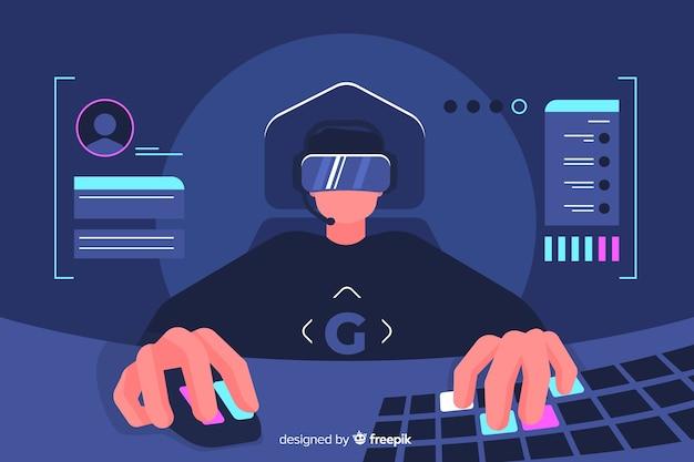 Gamer decoratief illustratie plat ontwerp Gratis Vector