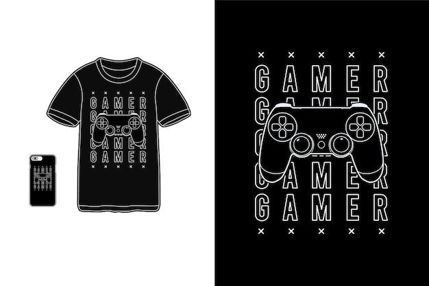 Gamer, t-shirt merchandise siluet mockup typografie Premium Vector