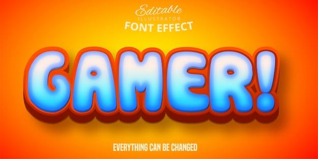 Gamer-tekst, 3d bewerkbaar lettertype-effect Premium Vector