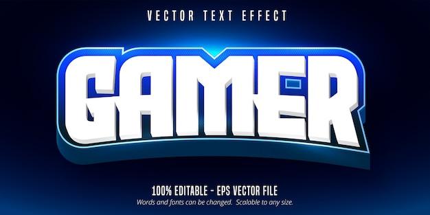 Gamer-tekst, bewerkbaar teksteffect in e-sportstijl Premium Vector