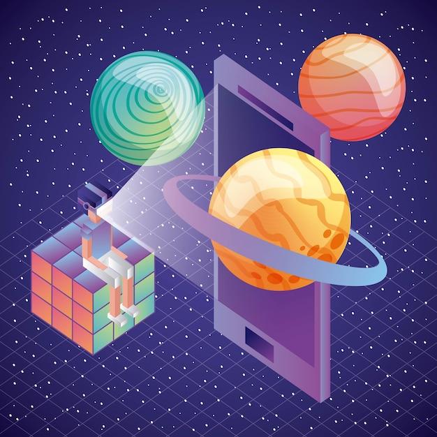 3d Glazen Kubus.Gamer Zit In Rubik Kubus Met Vr Glazen Telefoon Planeten 3d Vector