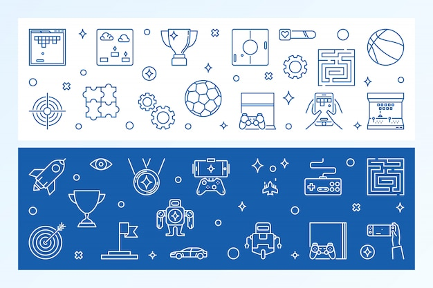 Games banners Premium Vector