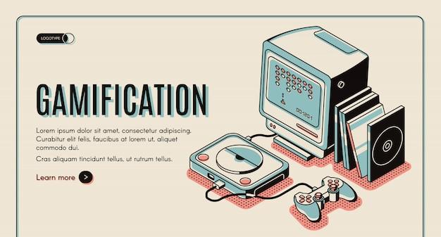 Gamification-banner, gamerconsole om te spelen, retro video-playstation met joystick en schijven Gratis Vector
