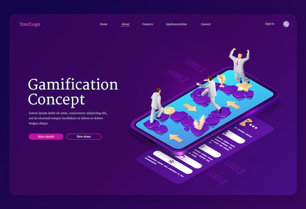 Gamification-bestemmingspagina Gratis Vector